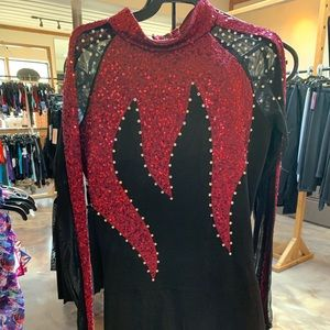 black and red dance costume